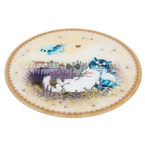 Фото - Agness Тортовница Синие коты. Лаванда 357-178 32 см бежевый тортовница agness вращающаяся озорные коты d 32 см h 3 см 357 156