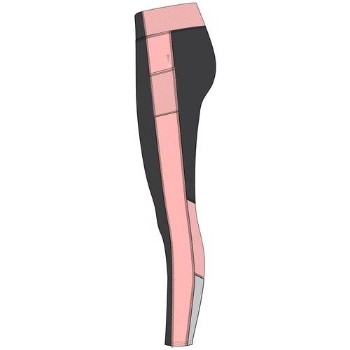 Леггинсы для фитнеса с карманом для телефона серо-розовые, размер: S / W28 L31, цвет: Угольный Серый/Нежный Персик/Перламутровый Серый DOMYOS Х Декатлон