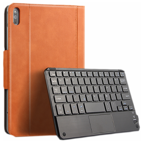 Чехол-клавиатура MyPads для Huawei MatePad WiFi/ LTE 10.4 (BAH3-W09 / L09) съёмная беспроводная Bluetooth-клавиатура коричневая кожаная + гарантия + русские буквы