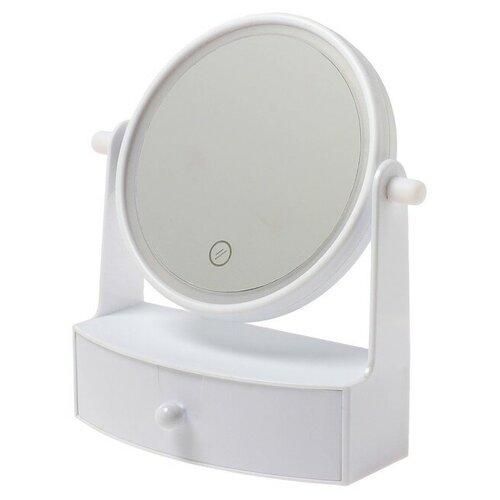 Зеркало косметическое настольное LuazON KZ-05 с подсветкой белый
