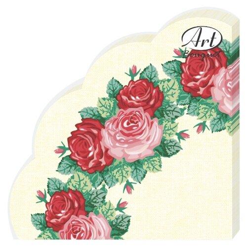 """Купить Салфетки бумажные РОНДО Art Bouquet """"Венок из роз"""" 1 упаковка по 12 штук, диаметр 32 сантиметра, 3-х слойные."""
