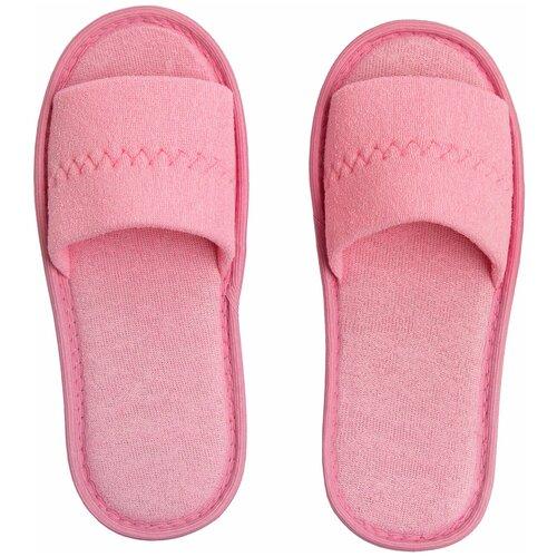 Тапочки женские Махра AMARO HOME Открытый нос (Розовый) 39-41