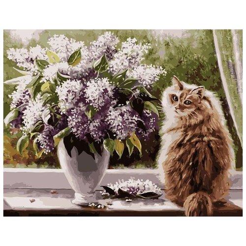 Картина по номерам Colibri VA-2879 Кот и цветы 40х50 см, Картины по номерам и контурам  - купить со скидкой