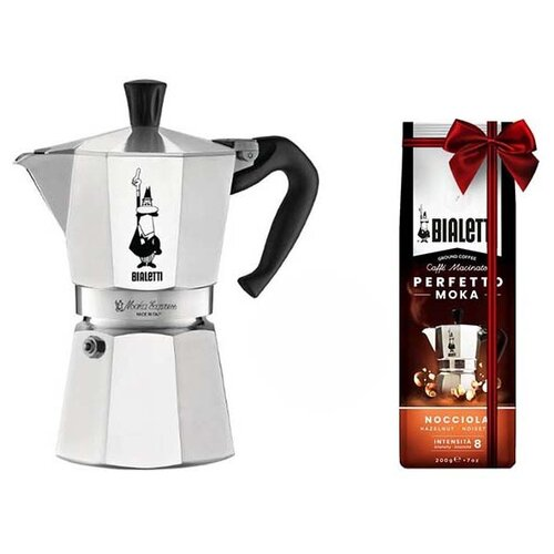 Кофеварка Bialetti Moka Express 6 порц.+кофе молотый Hazelnu