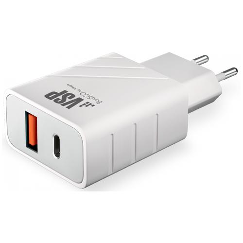 СЗУ адаптер USB Type-C + USB A, QC 3.0, Power Delivery, 18Вт, белый, BoraSCO сзу deppa usb type c power delivery 18вт дата кабель usb c lightning mfi белый