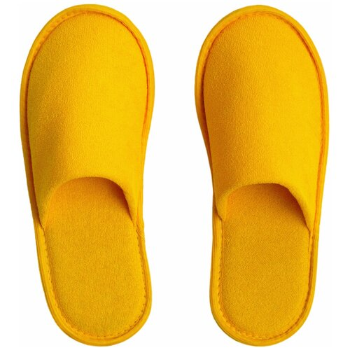 Тапочки женские Махра AMARO HOME Закрытый нос (Желтый) 36-38