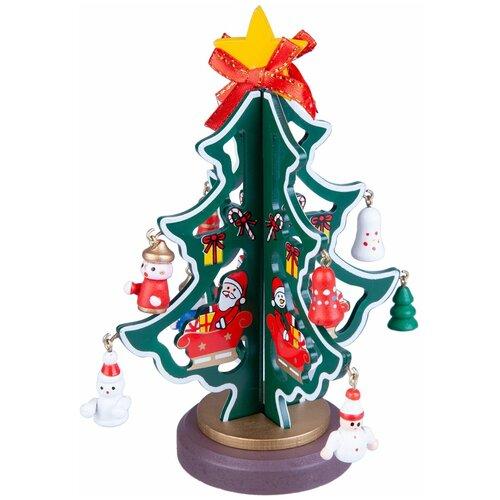 Фигурка BONDIBON Деревянная ёлочка 3D с игрушками 16.5 см зелeный недорого