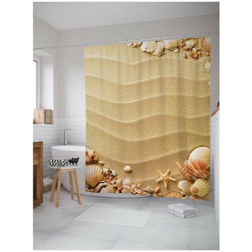 коврик противоскользящий joyarty композиция на песке для ванной сауны бассейна 75х45 см Штора для ванной JoyArty Композиция на песке 180х200 (sc-2792)