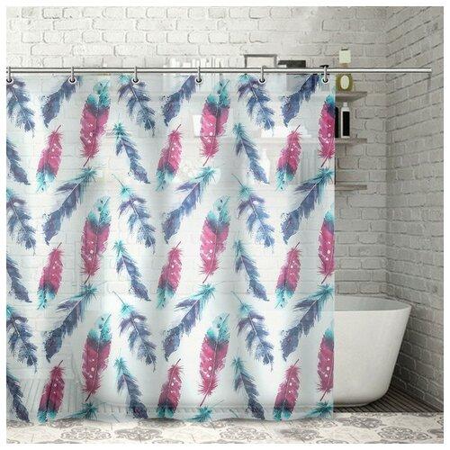 Штора для ванной Доляна Перышки 180x180 перышки штора для ванной доляна малевич 180x180 малевич