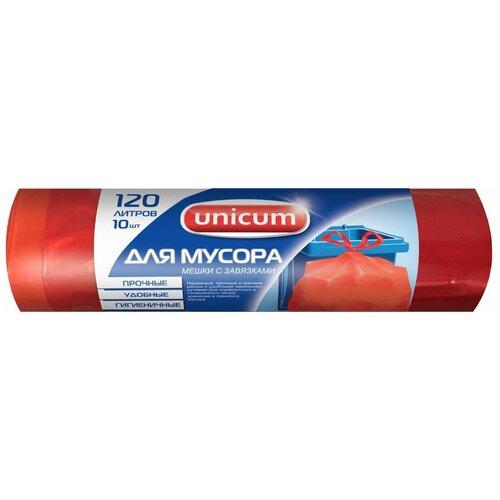 Фото - Мешки для мусора Unicum с завязками 120 л, 10 шт., красный мешки для мусора paterra особо прочные с завязками 120 л 10 шт синий
