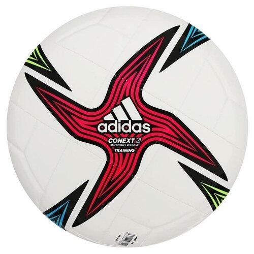 Мяч футбольный ADIDAS Conext 21 Training, размер 4, 8 панелей, гл.ТПУ, машинная сшивка, цвет белый/мультикол футбольный мяч adidas conext 19 omb dn8633