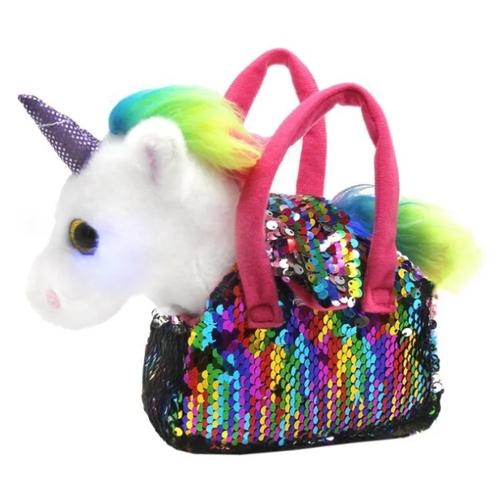 Мягкая игрушка Пушистые друзья Единорог в сумке с пайетками 17 см