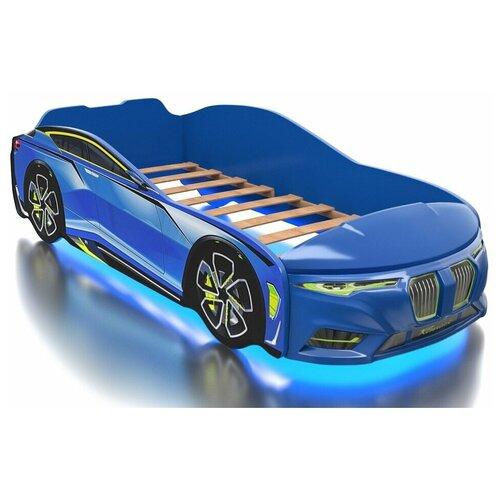 Кровать Romack Boxter голубая 160*80 +подсветка дна и фар +объемный капот
