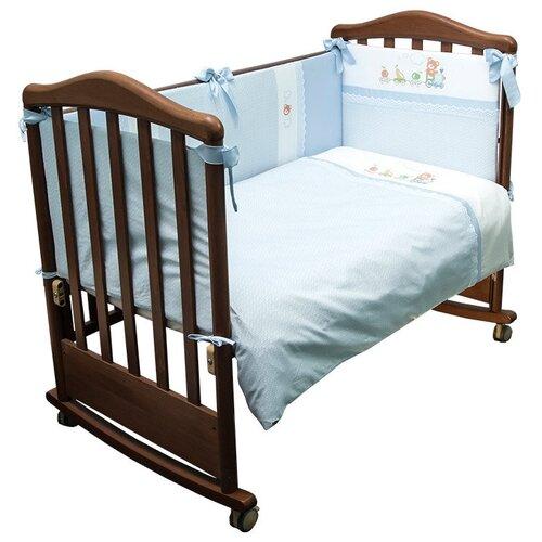 Купить Сонный Гномик комплект Паровозик (6 предметов) нежно-голубой, Постельное белье и комплекты