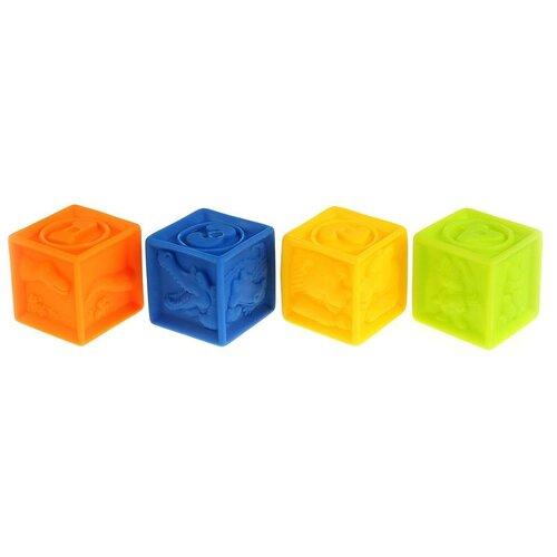 Купить Набор для ванной Играем вместе Кубики (LXN-3D-4) оранжевый/желтый/голубой/зеленый, Игрушки для ванной