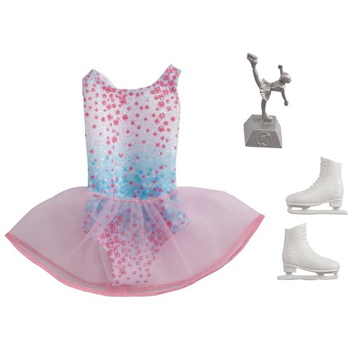 Barbie Наряд фигуристки для куклы Barbie GRC56 розовый