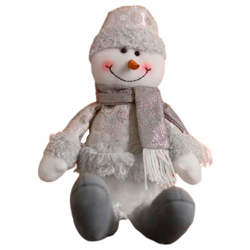 Мягкая игрушка Зимнее волшебство Снеговик в шапочке с кружочками - длинные ножки 45 см