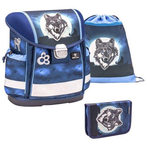 Купить Ранец Belmil Classy - Wolf Moon, Ночной волк, синий, с наполнением, Рюкзаки, ранцы