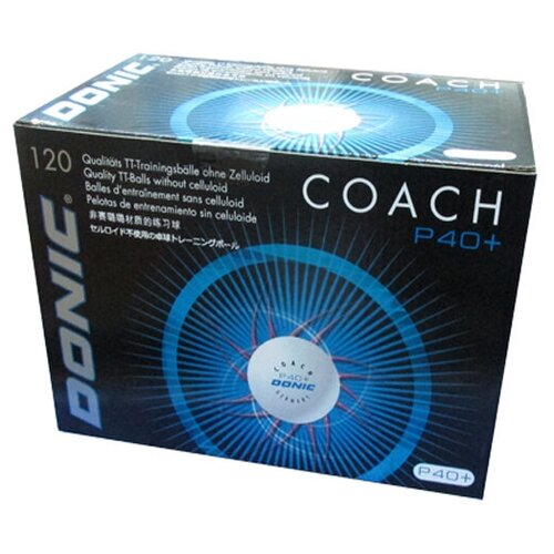 Фото - Мячи для настольного тенниса DONIC Coach P40+ бел. 120 шт., мячики для настольного тенниса donic champion 3 120 шт