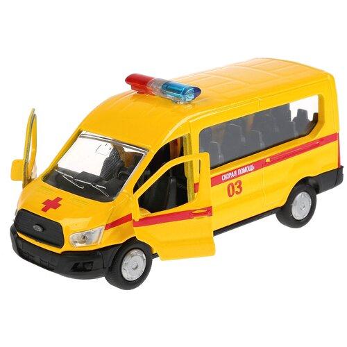 Микроавтобус ТЕХНОПАРК Ford Transit Скорая помощь (SB-18-18-A-W-WB/SB-18-18-A-Y-WB), 12 см, желтый