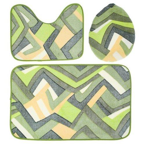 Комплект ковриков Доляна Геометрия 35х39, 40х50, 50х80 см зеленый