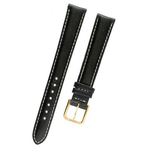 T600013341 Ремешок черный, теленок, 14/12, белая прострочка, желтая пряжка, для часов Tissot PR 50 NEW J136 0 pr на 100