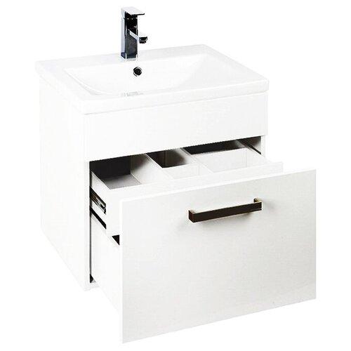 Фото - Тумба для ванной комнаты с раковиной IDDIS Mirro 50, ШхГхВ: 49.5х39.5х55.5 см, цвет: белый тумба для ванной комнаты с раковиной am pm like напольная шхгхв 80х45х85 см цвет белый глянец