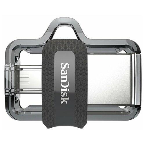 Фото - Флешка SanDisk Ultra Dual Drive m3.0 128 GB, серый флешка sandisk ultra dual drive usb type c 256 gb серый