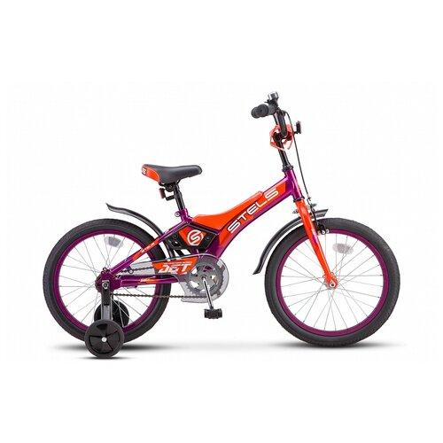 Детский велосипед STELS Jet 18 Z010 (2021) фиолетовый/оранжевый 10 (требует финальной сборки) детский велосипед stels jet 14 z010 2018 белый синий 8 5 требует финальной сборки