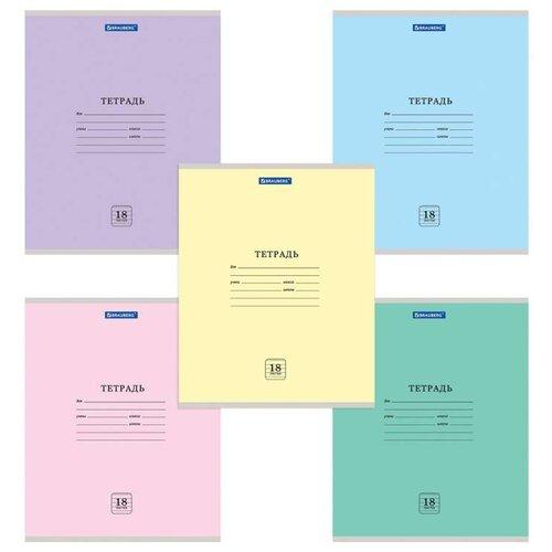 Купить Тетрадь 18 л. BRAUBERG ЭКО , линия, обложка плотная мелованная бумага, АССОРТИ (5 видов), 105676, Тетради