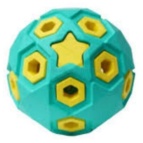 HOMEPET SILVER SERIES Ф 8 см игрушка для собак мяч звездное небо бирюзово-желтый каучук