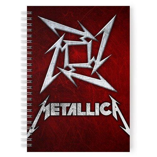 Купить Тетрадь 48 листов в клетку с рисунком METALLICA Символ, Drabs, Тетради