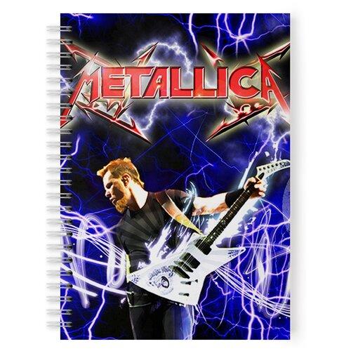 Купить Тетрадь 48 листов в клетку с рисунком METALLICA С гитарой, Drabs, Тетради