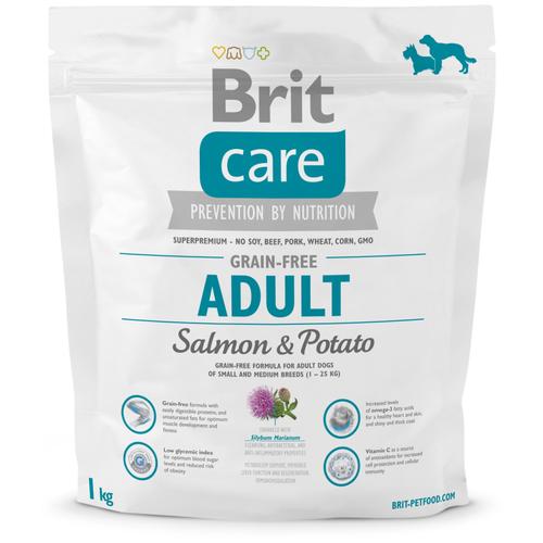 Фото - Сухой корм для собак Brit Care беззерновой, лосось, с картофелем 1 кг (для мелких и средних пород) сухой корм для щенков brit care лосось с картофелем 3 кг