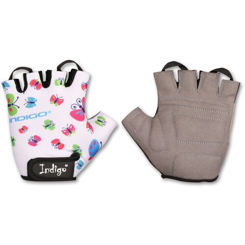 Перчатки вело детские INDIGO BUTTERFLY IN181 Белый 4XS