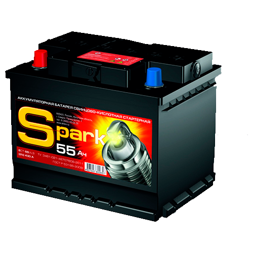 Автомобильный аккумулятор SPARK 55 Ач, 410 А, прямая полярность