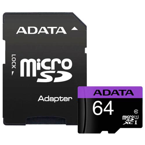 Фото - Карта памяти ADATA Premier microSDXC Class 10 UHS-I U1 + SD adapter 64 GB, адаптер на SD карта памяти microsdxc apacer 64 гб class 10 uhs i u1