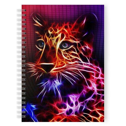 Купить Тетрадь 48 листов в клетку с рисунком Неоновый котик, Drabs, Тетради