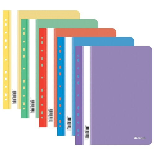 Berlingo Папка-скоросшиватель перфорированная с прозрачным верхом А4, пластик, 20 шт ассорти