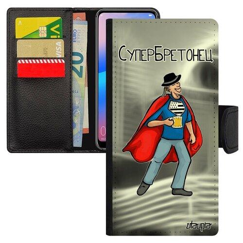 Чехол книжка для смарфона Huawei P20 Pro уникальный дизайн Супербретонец Супергерой Комикс