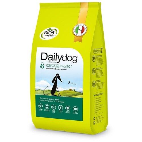 Сухой корм для щенков DailyDog курица, с рисом 3 кг (для средних пород) недорого