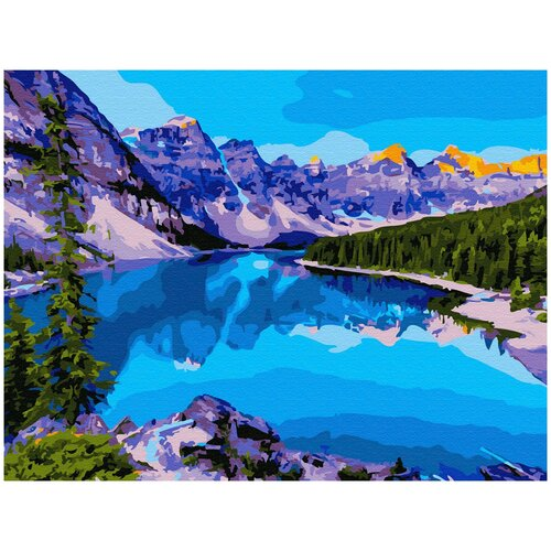 Купить Картина по номерам с цветным холстом Molly 30х40 см Озеро в Канаде, Картины по номерам и контурам