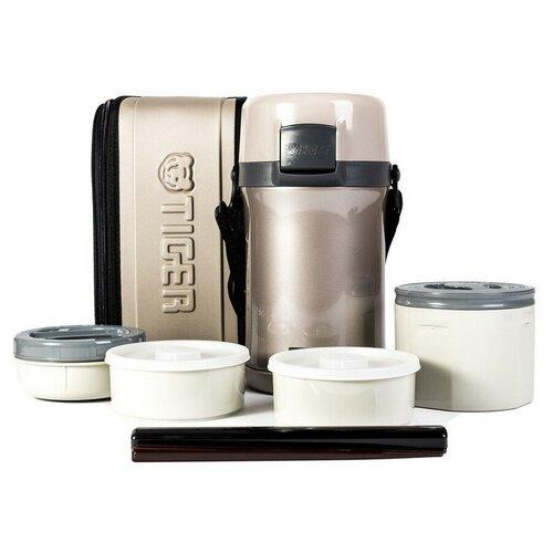 Термос для еды TIGER LWU-F200, 4 предмета серебряный