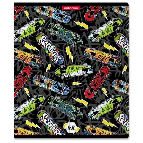 Тетрадь общая ученическая ErichKrause Neon Skate, 48 листов, клетка, выборочный УФ-лак тетрадь общая ученическая в съемной пластиковой обложке erichkrause folderbook accent красный а5 48 листов клетка