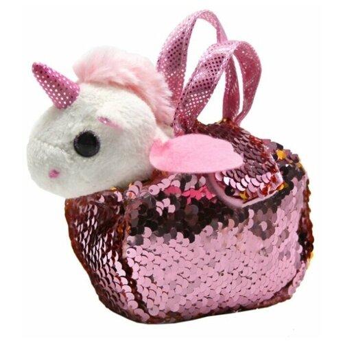 Мягкая игрушка Пушистые друзья Единорог в сумке с пайетками 10 см