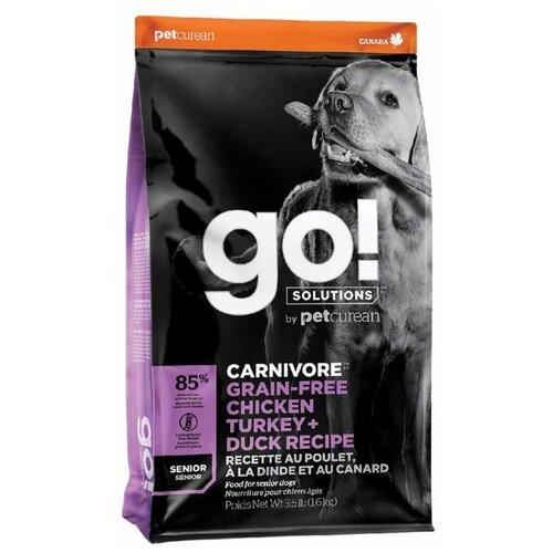 Фото - Сухой корм для пожилых собак GO! Carnivore, курица, индейка, утка 1.6 кг сухой корм для щенков go carnivore беззерновой курица индейка утка 10 кг
