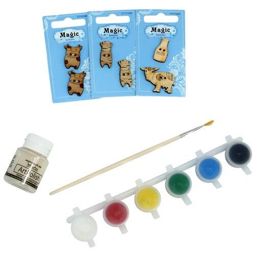 Купить Набор пуговиц для раскрашивания 'Коровки' (2-3см), с красками, Astra&Craft, Astra & Craft, Роспись предметов