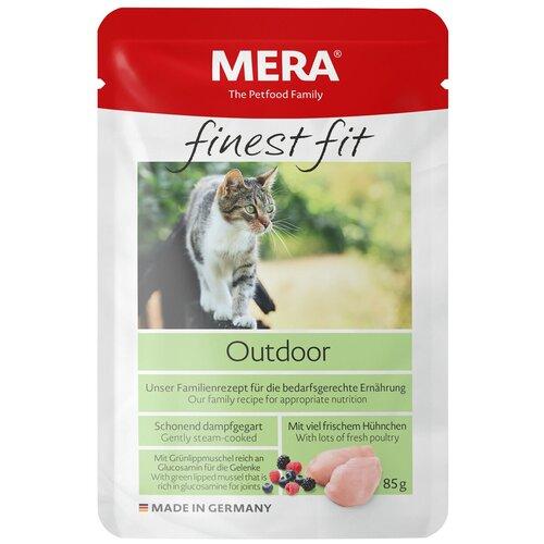 Влажный Корм для кошек Mera Finest Fit, для живущих на улице, с курицей 12 шт. х 85 г