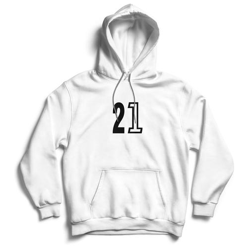Толстовка ЕстьНюанс с принтом «21» белая, размер S