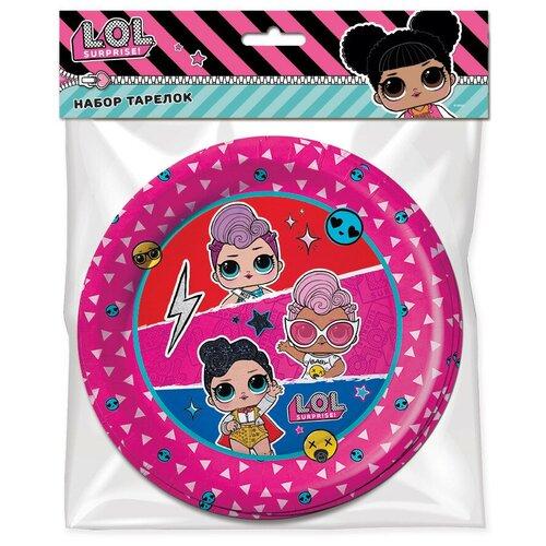 ND Play Тарелки одноразовые LOL бумажные, 18 см, 6 шт., красный/розовый/голубой nd play свеча для торта l o l 290051 розовый голубой